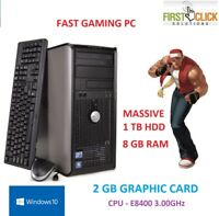 FAST WINDOWS 10 GAMING COMPUTER PC INTEL CORE 2 DUO E8400 @ 3.00GHz 8GB 1TB HDD