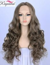 Light Brown Synthetic Full Wigs Long Wavy Lace Front Wig For Women Heat Friendly