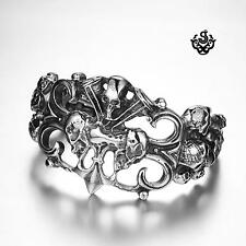 Silver bikies bracelet stainless steel men skull Fleur-De-Lis cuff bangle