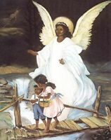 """Black African American GUARDIAN ANGEL with Boy & Girl 8 x 10"""" Print to be framed"""