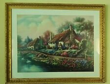 CARL VALENTE PRINT VILLAGE OF SELWORTHY River Cottage WOODEN BEADED FRAME 37X30
