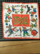 Vintage Child'S Children'S Red Circus Alphabet Handkerchief Hankie