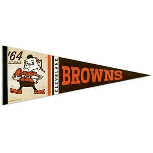 """CLEVELAND BROWNS 1964 WORLD CHAMPS ELF VINTAGE STYLE 12""""X30"""" EXCLUSIVE PENNANT"""