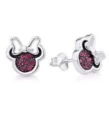 Genuine Sterling Silver Disney Minnie Mouse Bow CZ Crystal Stud Earrings