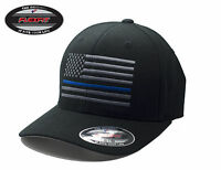 NEW American Thin Blue Line Flag FlexFit # 5001 Black Hat - Free Shipping!!