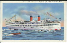 AB-042 - Steamship Theodore Roosevelt, 1930's-1950's Linen Postcard at Sea