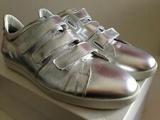DIOR HOMME HEDI SLIMANE ERA 2007 SILVER METALLIC LEATHER SNEAKERS EU 45