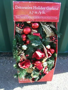 Vintage Xmas garland with original box 9 ft with ribbons and baubles in Red