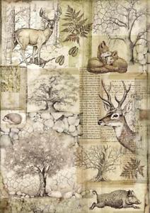 A4 Decoupage Rice Paper - Furniture, Craft, Mixed Media. Stamperia Deer & Boar