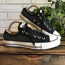 CONVERSE Low Top Black Silver Studded Sneakers Women's Size 6.5