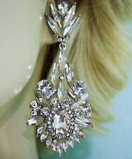 Clear Marquise Chandelier Earrings Rhinestone 3.5 inch Pageant Bridal Drag Prom