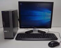 "OFFICE PC DESKTOP DELL QUAD i5 16GB DDR3 500GB HD Win 10 COMPUTER FULL SET 19"""
