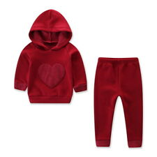 Newborn Kids Boy Girl Hooded Red Heart T-shirt Tops +Pants Casual Clothes Set