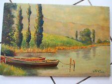 Paysage Peinture à l'huile sur panneau en bois signée de 1940