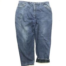 Woolrich Men's 44 Denim Outdoor Flannel Lined Jeans Pants Distress Flawed 44x32