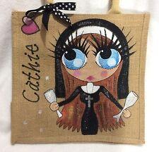 Personalised Handpainted Jute Naughty Nun Hen Party Celebration Handbag Hand Bag