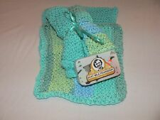 Set of 4 Handmade Knitted 100% Cotton Dish Cloths/ Wash Clothes Greens-Blues