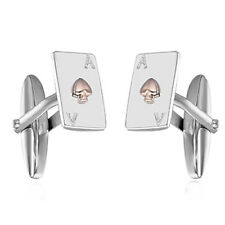 Sterling Silver & Rose Gold Ace of Spades Playing Card Cufflinks Jewellery