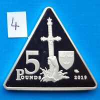 Bardsey Island 5 pounds 2019 Excalibur King Arthur Sword Triangle Proof 40mm
