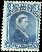 Used Canada Newfoundland 1873 F 3c Scott #34 Queen Victoria Stamp