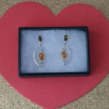 Beautiful Silver Earrings With Multi Color Ambar 7 Gr. 4 Cm. Long In Gift Box