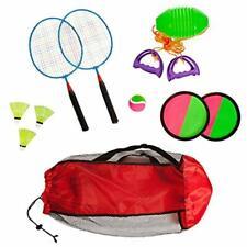 "Combo Outdoor Play Set Of 3 Hook And Loop Catch Speed Ball "" Badminton Mesh Bag"
