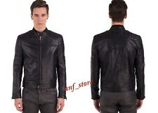 NWT Diesel BLACK GOLD LAQUIL Mens Racer Leather Patch Black Jacket 48 / MEDIUM