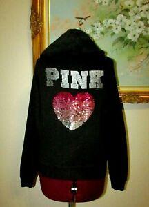 VICTORIAS SECRET PINK BLK SZ XS PINK SEQUINED HEART FULL ZIP COTTON BLEND HOODIE