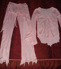 Beach Cover Up Outfit Pantsuit Pants Blouse Pink Nylon Lycra Long Sleeve LS Top