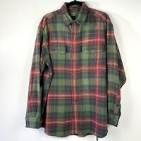 Orvis Flannel Shirt Mens Size Large Green Red Plaid Long Sleeve Button Up Cotton