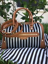 Henri Bendel Centennial Stripe Large Miss Bendel Barrel