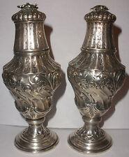 Antique German 800 Silver Art Nouveau Repousse Salt Pepper Shaker Wilhelm Ludwig
