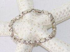 "Vintage 925 Sterling Silver X & Heart Cross 7.25"" Bracelet Stampato Italy 6.6 Gr"