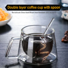 Glass Double-layer Mug Coffee Tea Thermal Insulation Cup Water Bottle + Spoon
