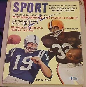 Jim Brown Cleveland Browns SIGNED AUTOGRAPHED 1962 Sport Magazine BAS Football