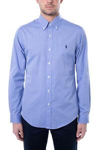 POLO RALPH LAUREN - Camicia uomo slim in cotone stretch azzurro