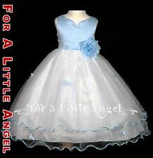 Sky Blue Flower Girl Dress Wedding Party Holiday Dress Butterfly 2 4 6 8 10
