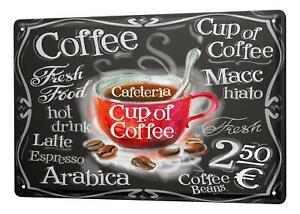 Blechschild Restaurant Küche Tasse Kaffee