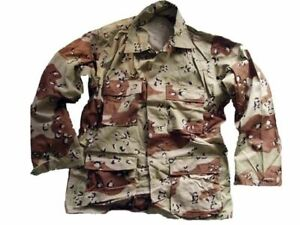 USA BDU SHIRT JACKET NEW VTG Made in USA GENUINE Army ISSUE CHOC CHIP CAMO S-M