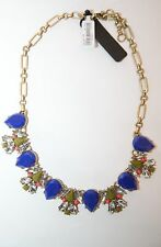 J Crew bue stone and rhinestone statement necklace