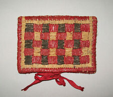 Old Antique Vtg 19th C 1800s Hand Woven Wallet With Red Silk Cloth Lining Nice