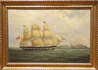 Large 18th Century British Royal Navy Marine Oil Ship Sailing Thomas LUNY
