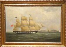 Fine Lare 18th Century British Naval Marine Oil Ship Sailing Antique Painting