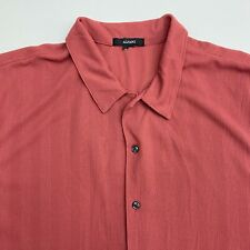 Alfani Button Up Shirt Men's Size 2XL Short Sleeve Red Polyester Casual Top