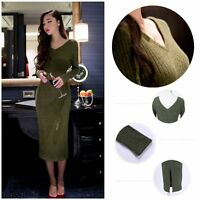 New Women Autumn Winter V Neck Knitted Sweater Bodycon Long Sleeve  Korean Dress