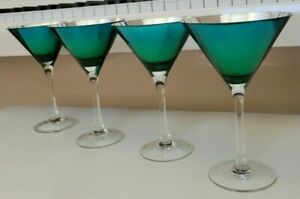 4 MIRROR GLASS MARTINI TURQUOISE GREEN EXTERIOR SILVER INTERIOR HOLDS 8 OZS