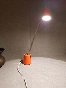 Eichhoff Lampette Leuchte Schreibtisch Teleskop-Lampe Orange 60er Jahre
