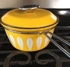 MCM Cathrineholm Norway Yellow Enamelware Lotus sauce pot / pan
