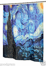 The Starry Night Fabric Shower Curtain by Vincent van Gogh