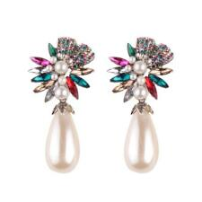 Bohemian Crystal Rhinestones Pearls Earrings Women Drop Ear Stud Dangle Jewelry Multicolor